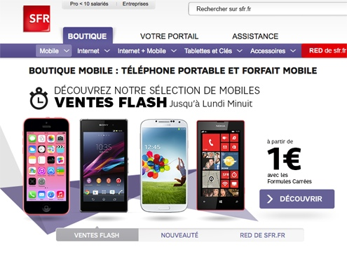 les smartphones 4go en promotion chez sfr. Black Bedroom Furniture Sets. Home Design Ideas